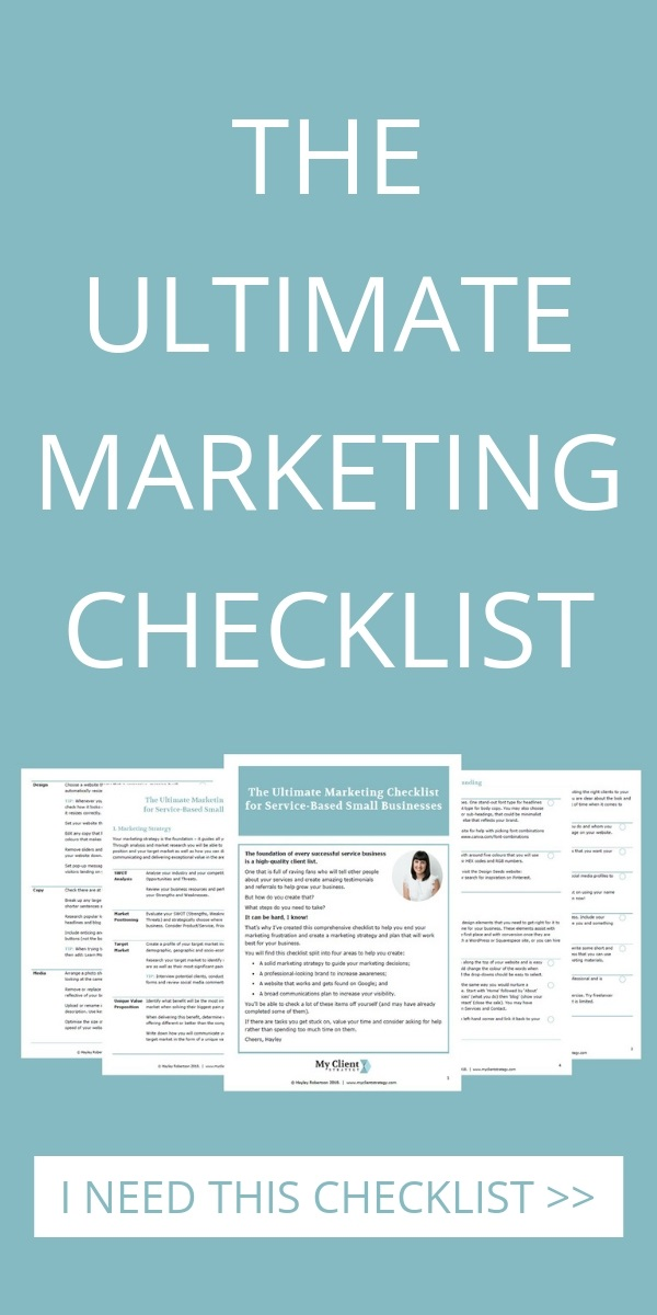 marketing checklist for small business